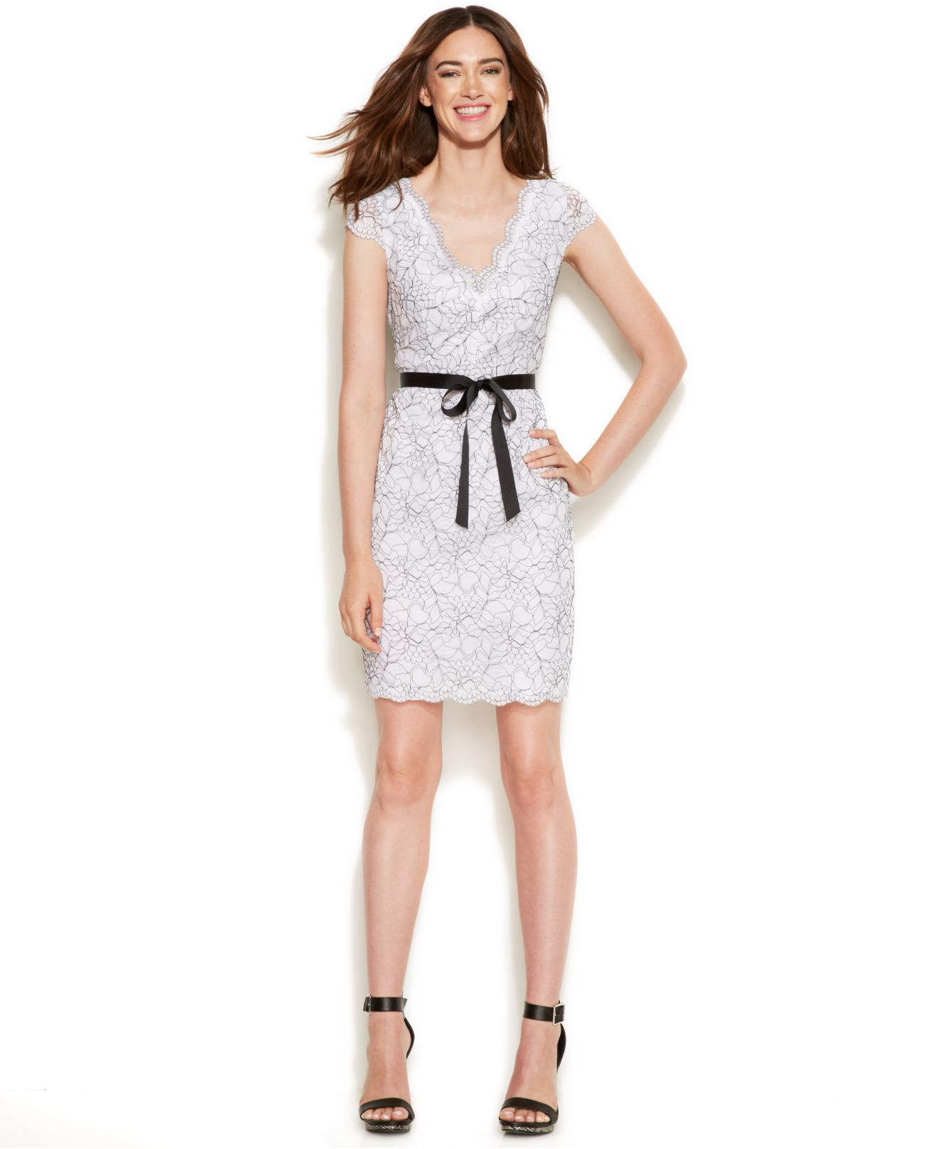 8c31c17b0767 Lyst - Calvin Klein Cap-sleeve Lace Sheath Dress in White