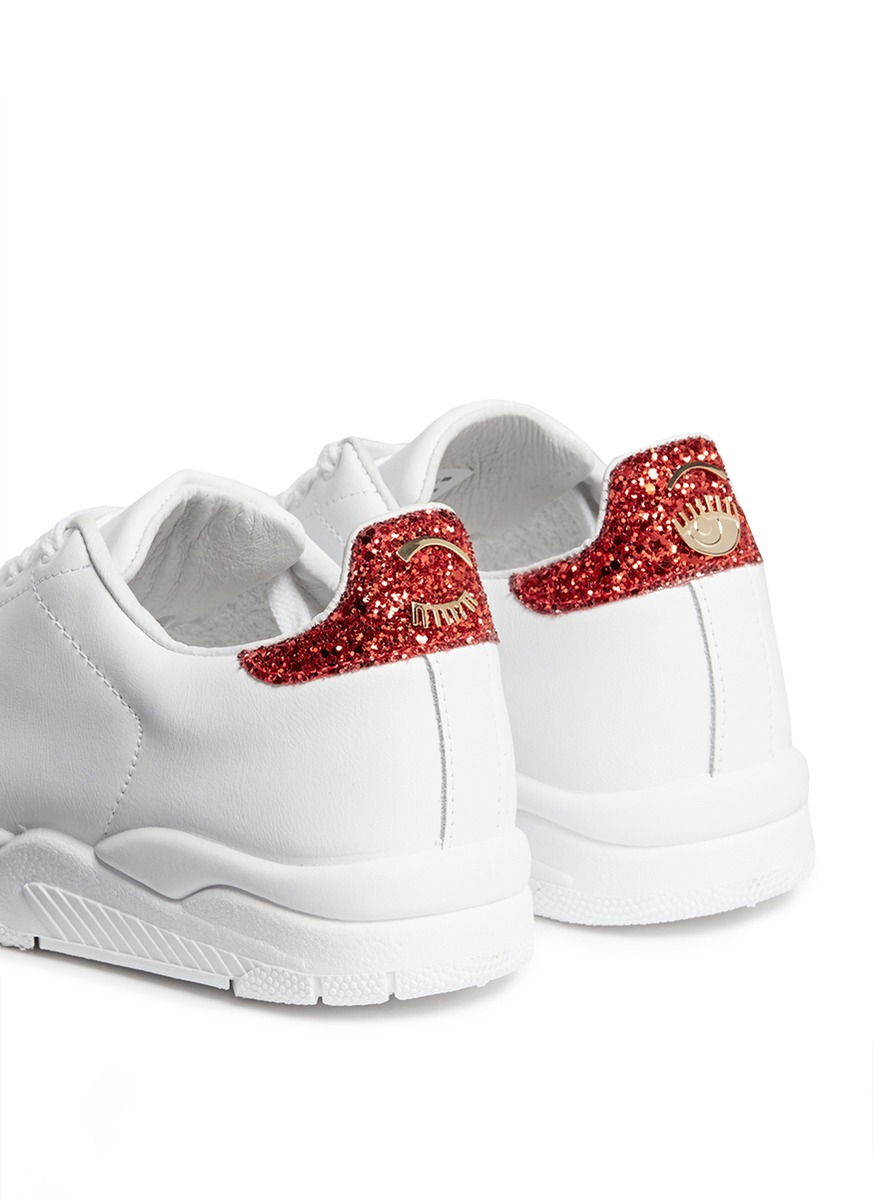Chiara Ferragni Leather Roger Sneakers With Glitter Stars Buy Cheap Price Free Shipping Professional Discount Amazing Price Buy Online New For Cheap Sale Online KgbTr