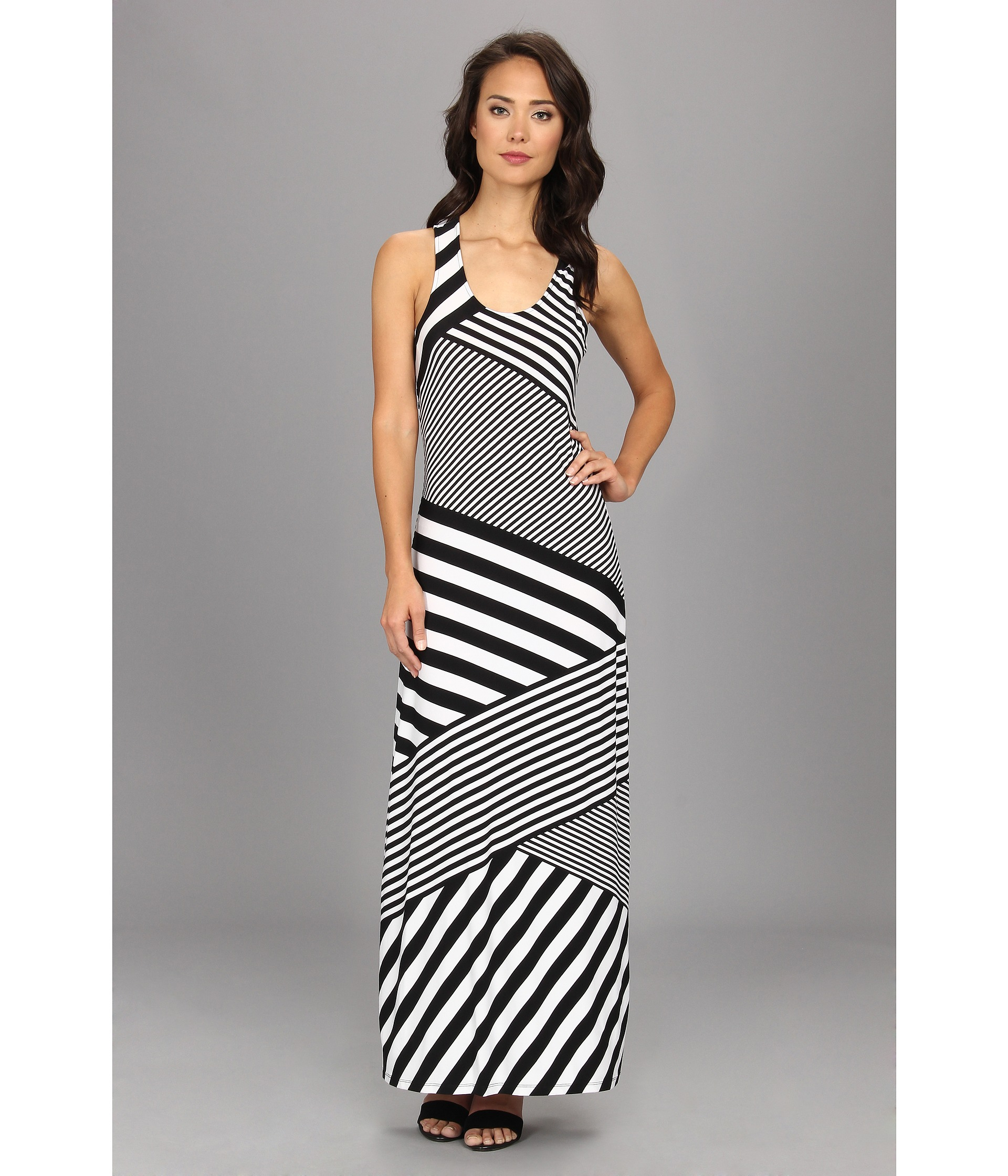 Calvin Klein Striped Mj Maxi Dress In Black White White