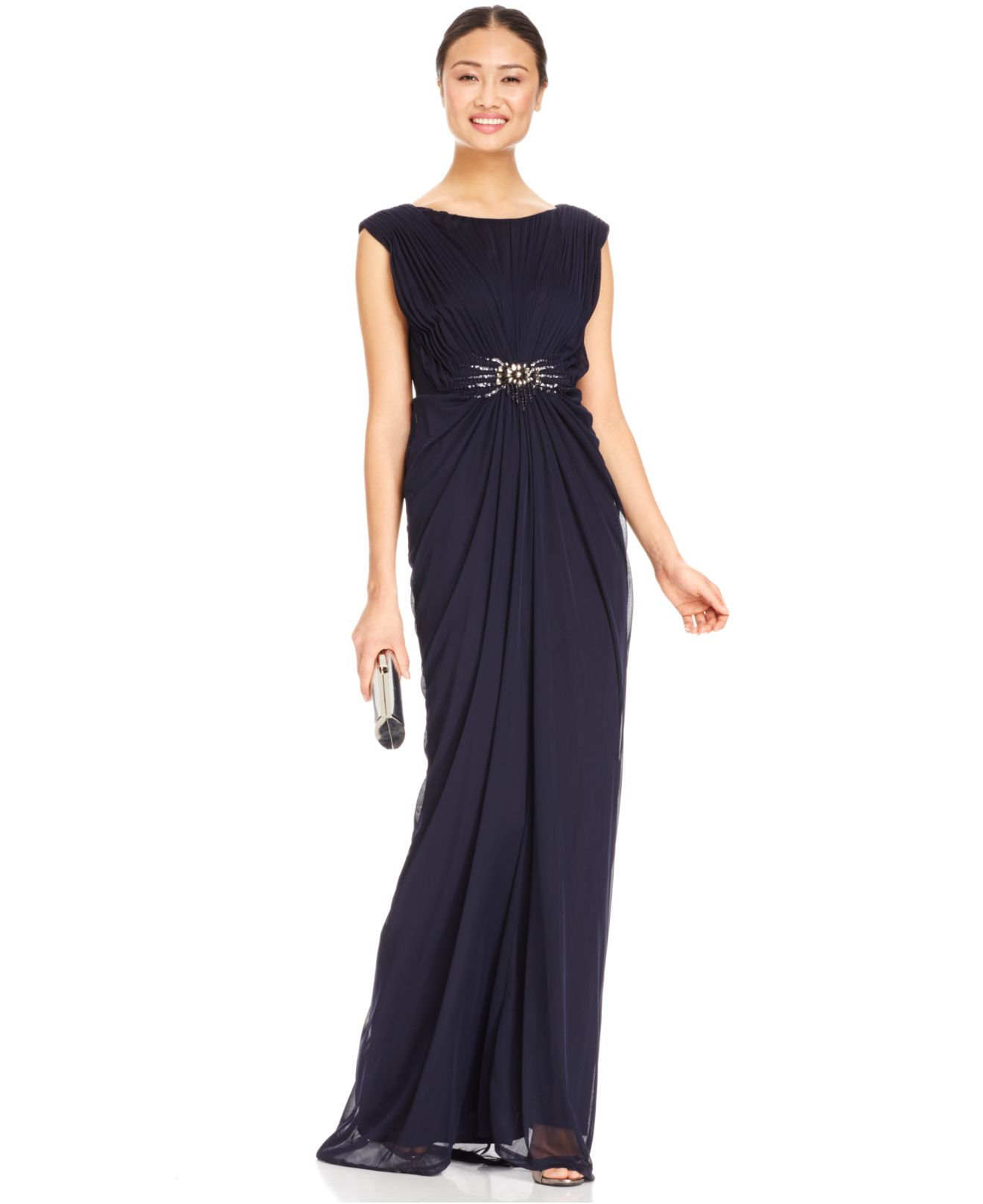 Adrianna papell Embellished Shirred Jersey Gown in Blue | Lyst