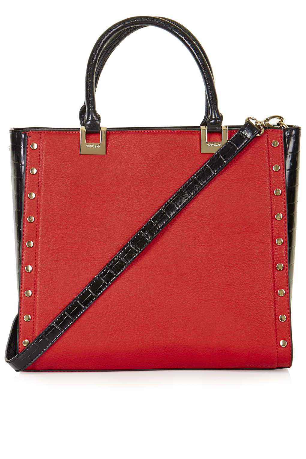 TOPSHOP Studed Top Handle Tote Bag in Red