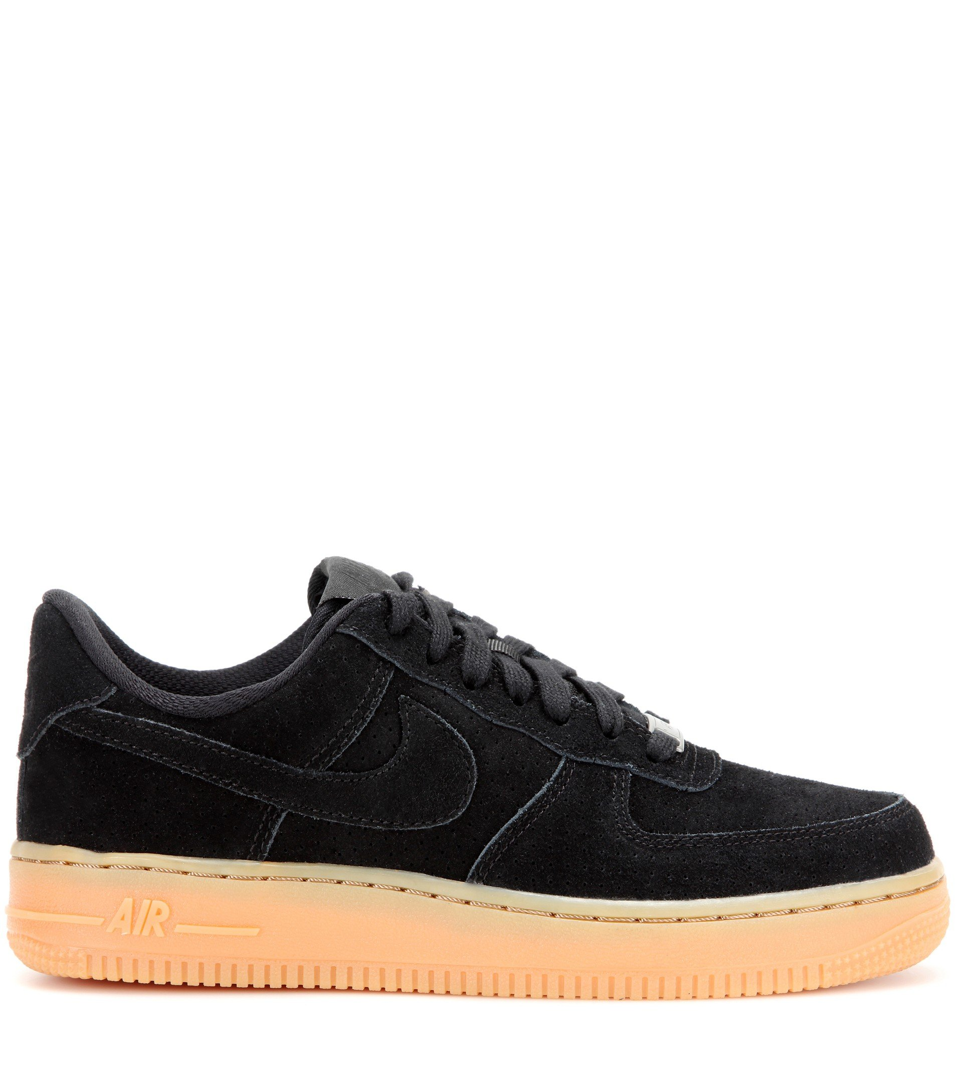 lyst nike air force 1 suede sneakers in black. Black Bedroom Furniture Sets. Home Design Ideas