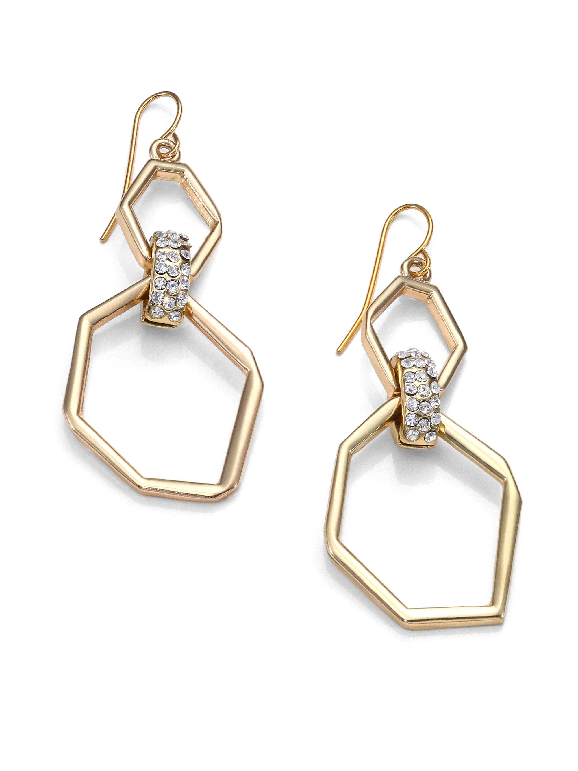 abs by allen schwartz geometric pave drop earrings in gold