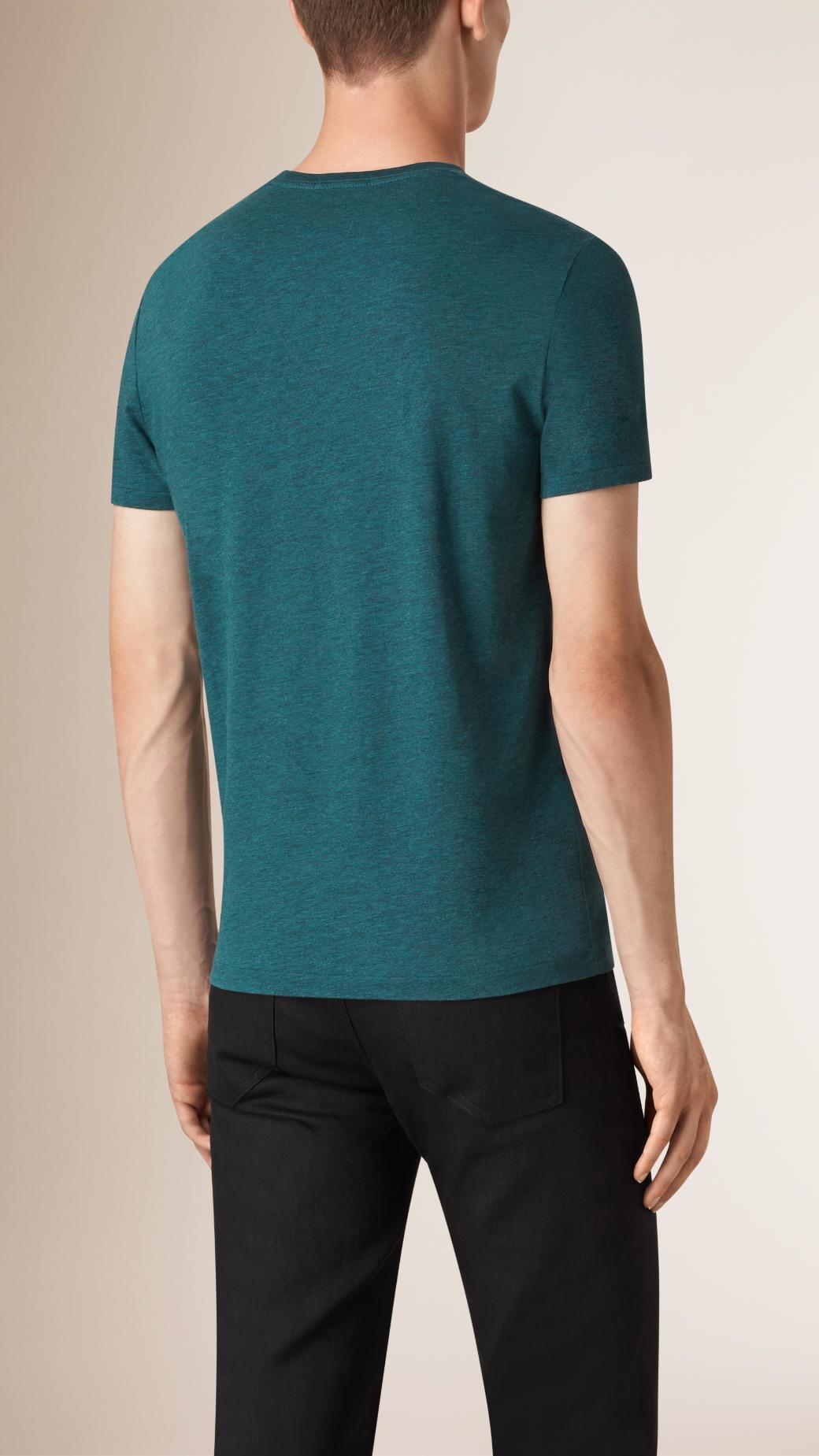 Burberry liquid soft cotton t shirt dark teal melange in for Soft cotton dress shirts
