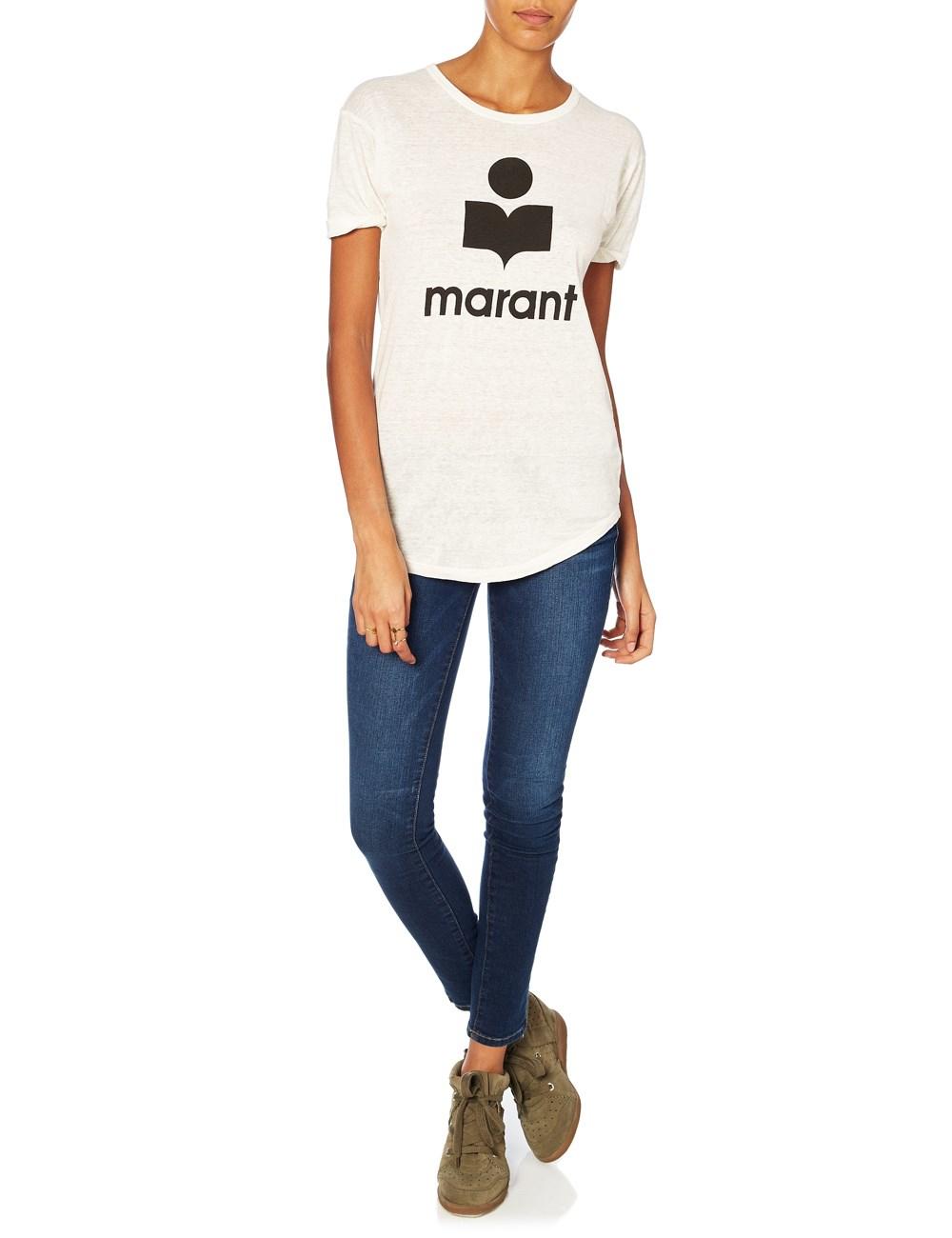 Toile Isabel Marant White Koldi Logo Linen T Shirt In