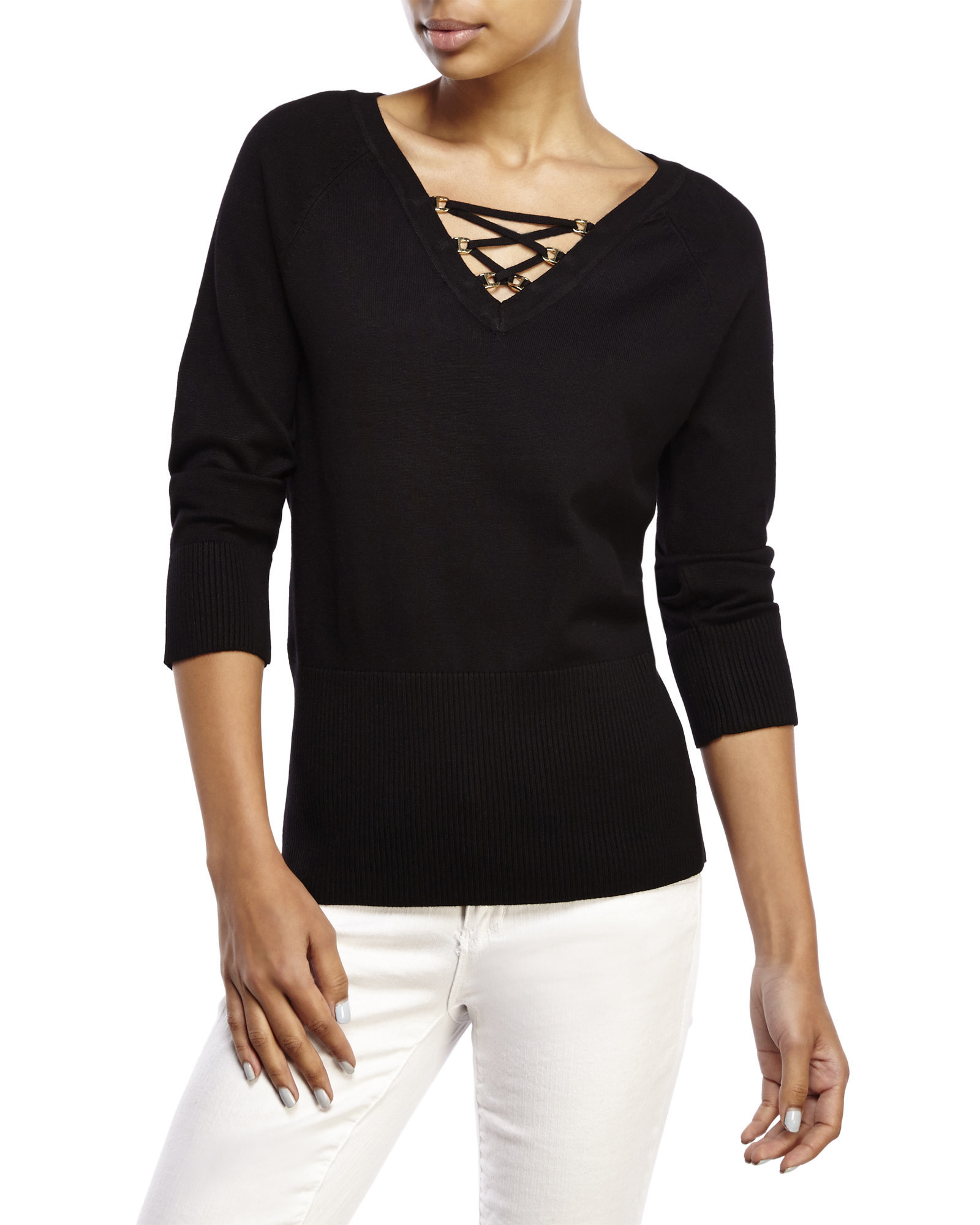 Lyst Cable Gauge Lace Up Sweater In Black