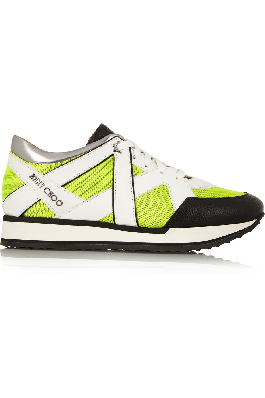 c2a6cb0b0a8b Jimmy Choo London Neon Mesh And Leather Sneakers in Yellow - Lyst