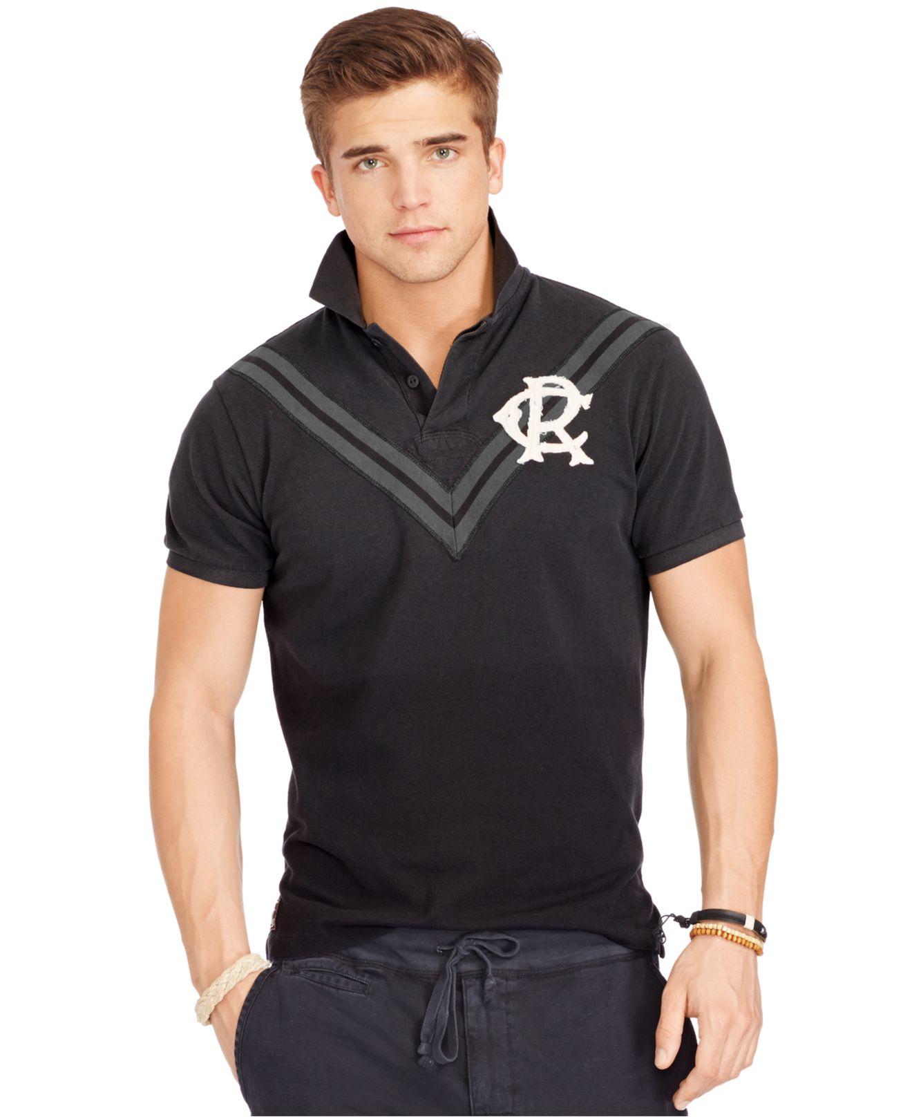 Lyst polo ralph lauren custom fit chevron mesh rugby for Polo ralph lauren custom fit polo shirt