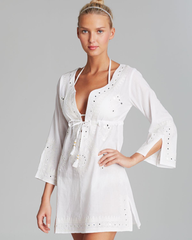 111fb31f0a Debbie Katz Shanti Mirror Cotton Tunic Swim Cover Up in White - Lyst