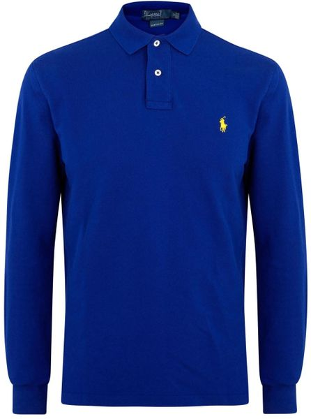 Polo Ralph Lauren Royal Blue Piqu Cotton Polo Shirt In