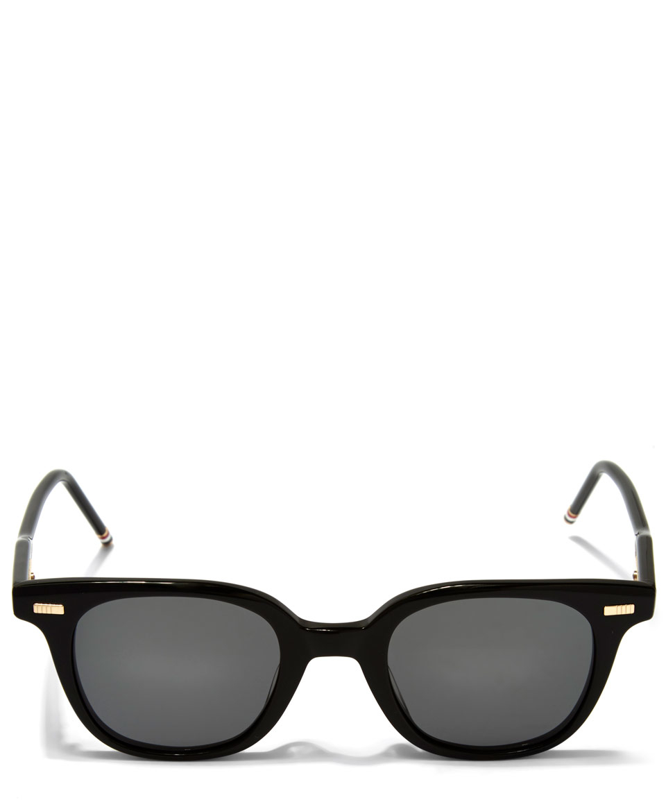 Thom Browne Black Rounded Square Sunglasses for Men