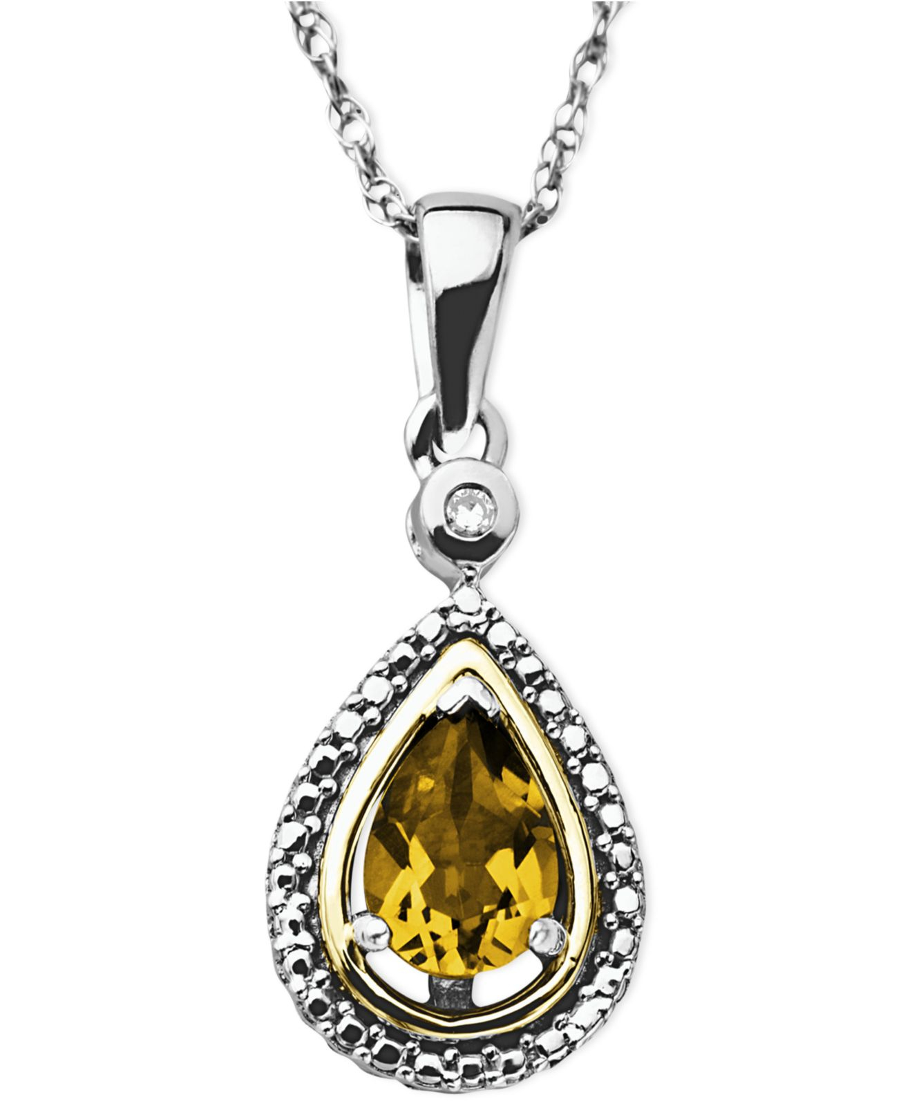 macys jewelry macy s 14k gold and sterling silver necklace citrine 5 8 7404