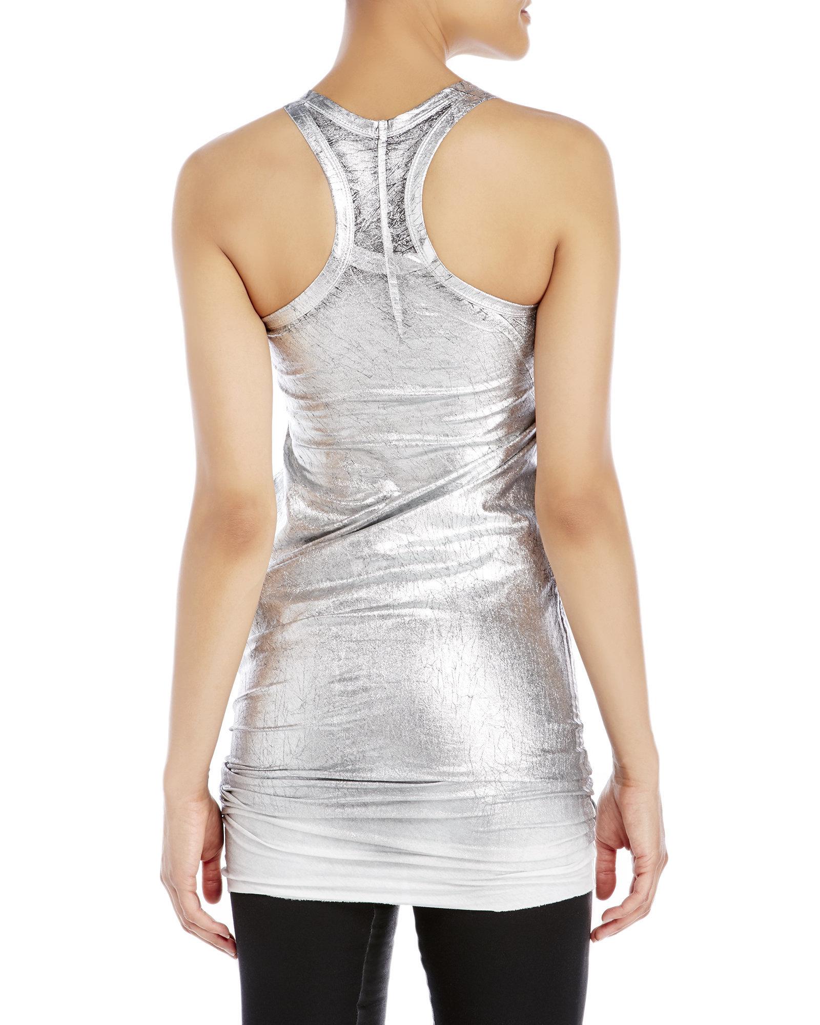 Masnada metallic silver tunic in metallic lyst for Silver metallic shirt women s