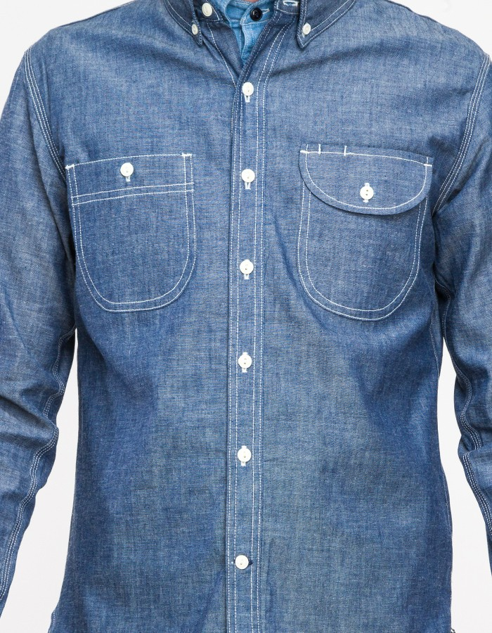 Rogue Territory Work Shirt In Raw Chambray In Blue For Men