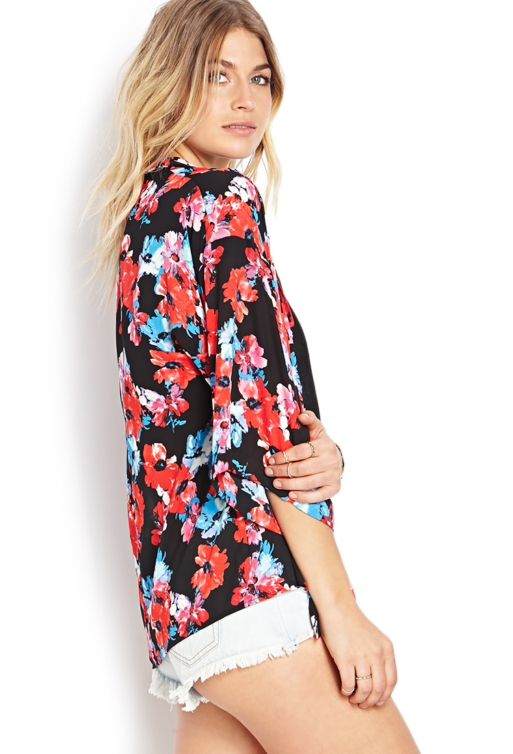 Lyst Forever 21 Watercolor Floral Kimono In Red