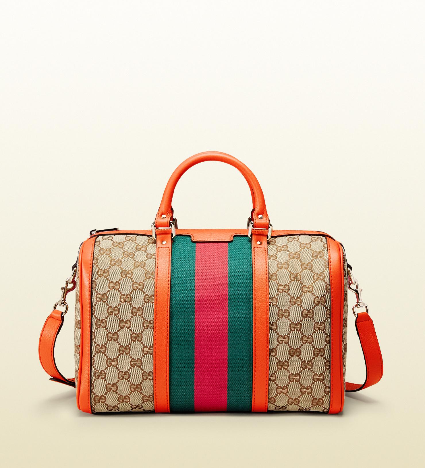 26ef2b95c27 Lyst - Gucci Vintage Web Original Gg Canvas Boston Bag in Orange