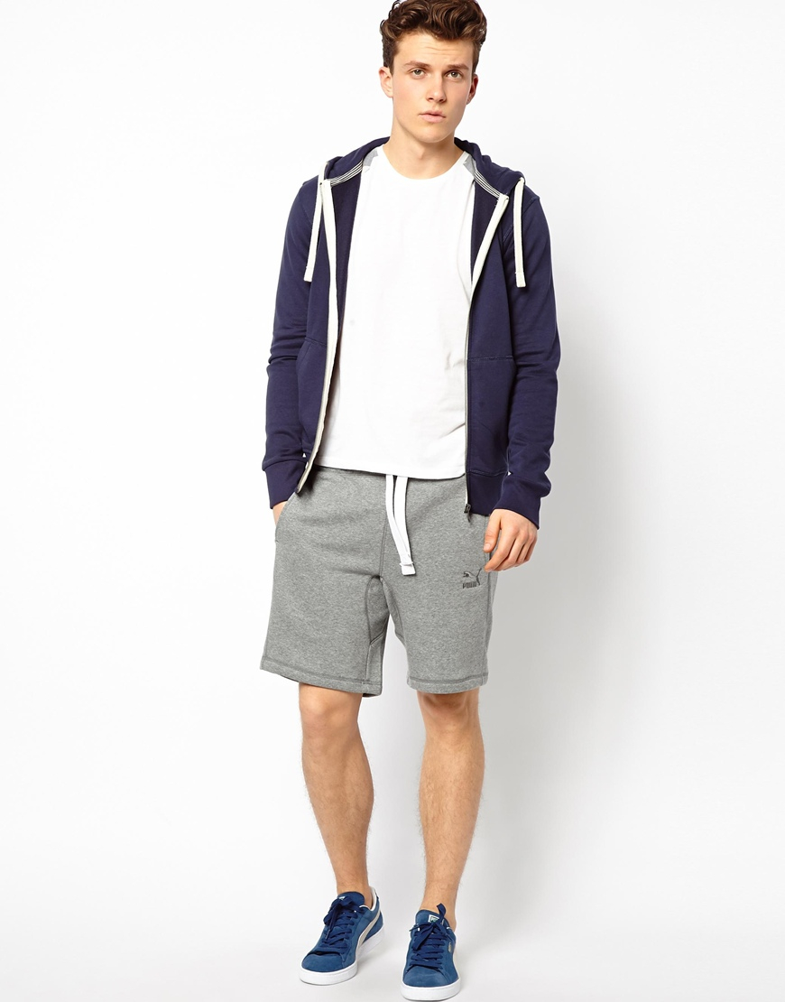 Puma sweat shorts in gray for men grey lyst for How to not sweat through dress shirts