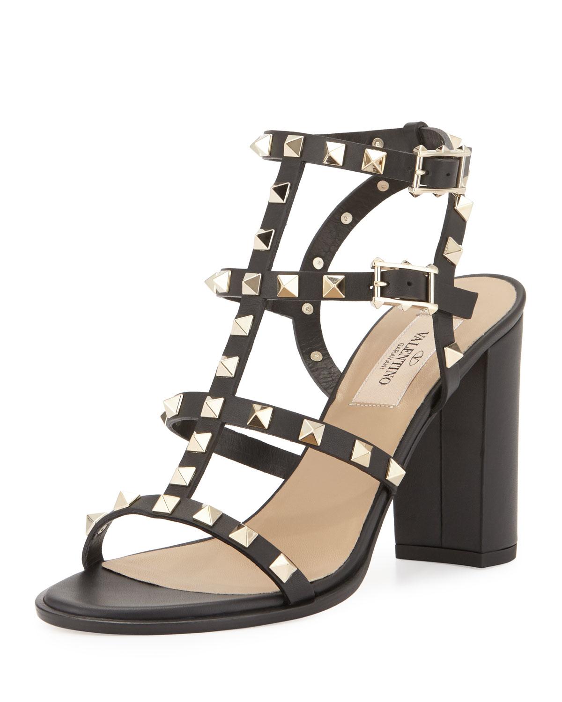 valentino rockstud 90mm city sandal in black lyst