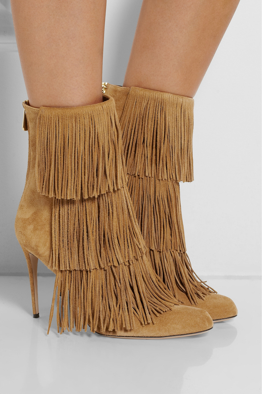 Paul andrew Taos Fringed Suede Ankle Boots in Brown | Lyst