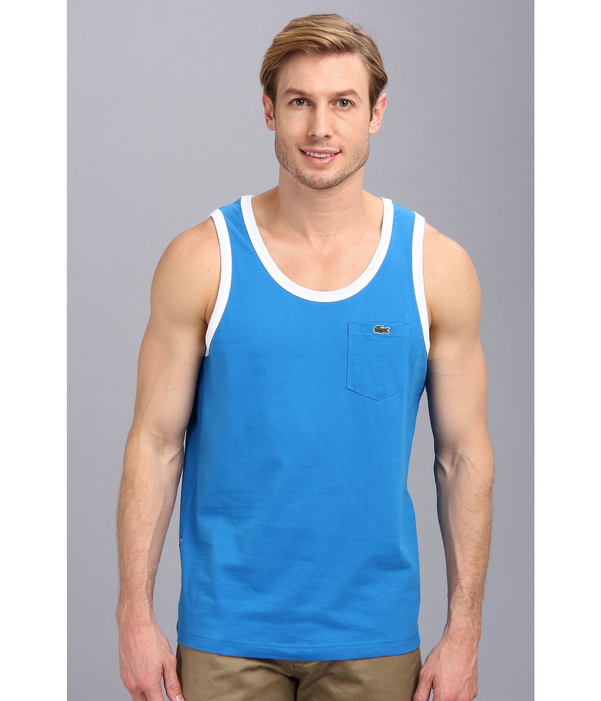 a71a9a508165d Lyst - Lacoste Live Cotton Jersey with Contrast Trim Tank Top in ...