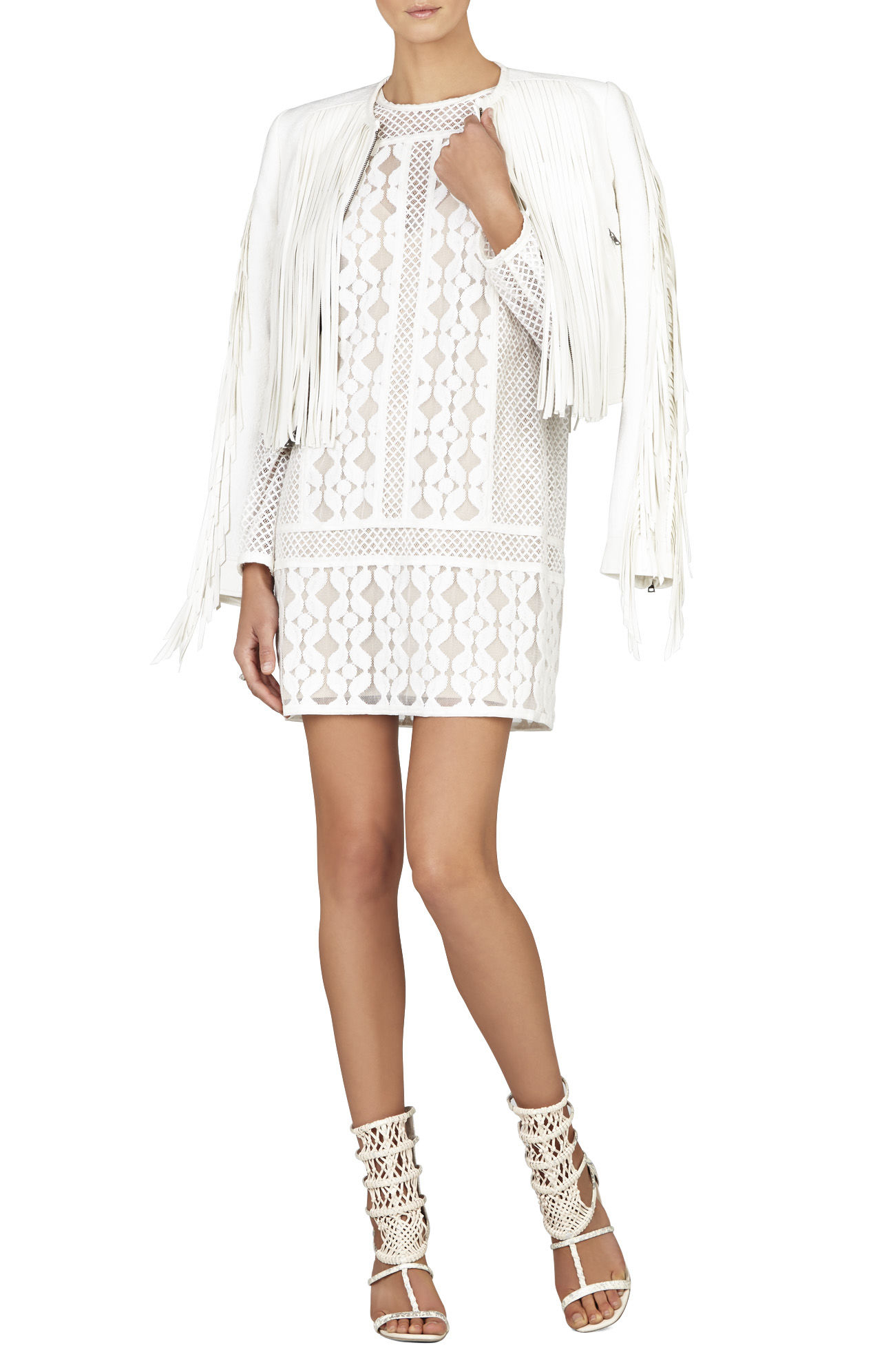 2bfe09981ec Bcbgmaxazria Anisa Long-sleeve Lace-blocked Dress in White - Lyst