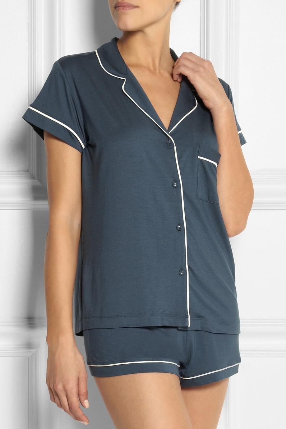 0e8de30531b Calvin Klein Blue Structure Stretch-Jersey Pajama Set