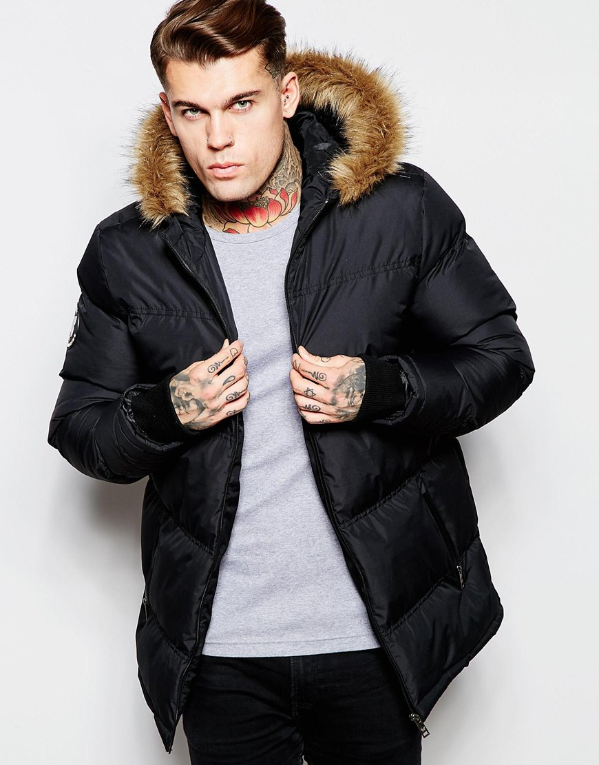Lyst Good For Nothing Padded Jacket With Faux Fur Hood In Black