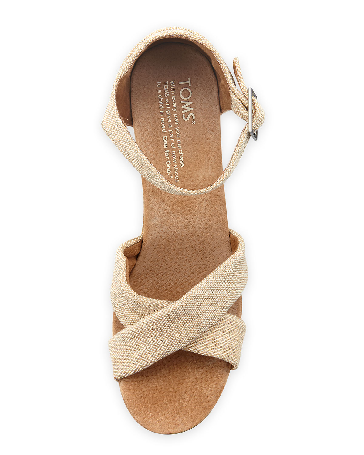Toms Fabric Cork Wedge Sandal In Natural Lyst
