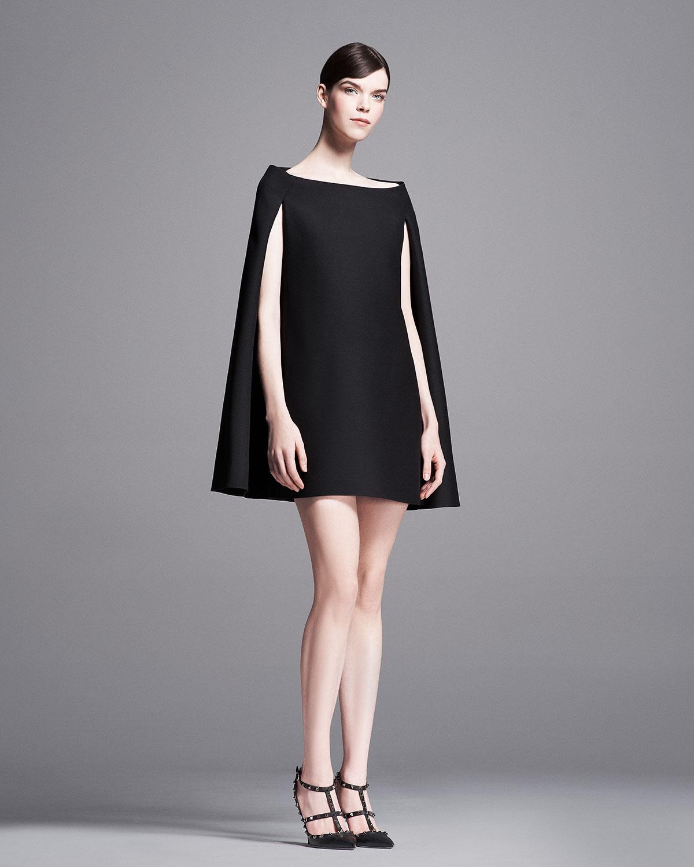 Valentino Crepe Couture Cape Dress In Black Lyst