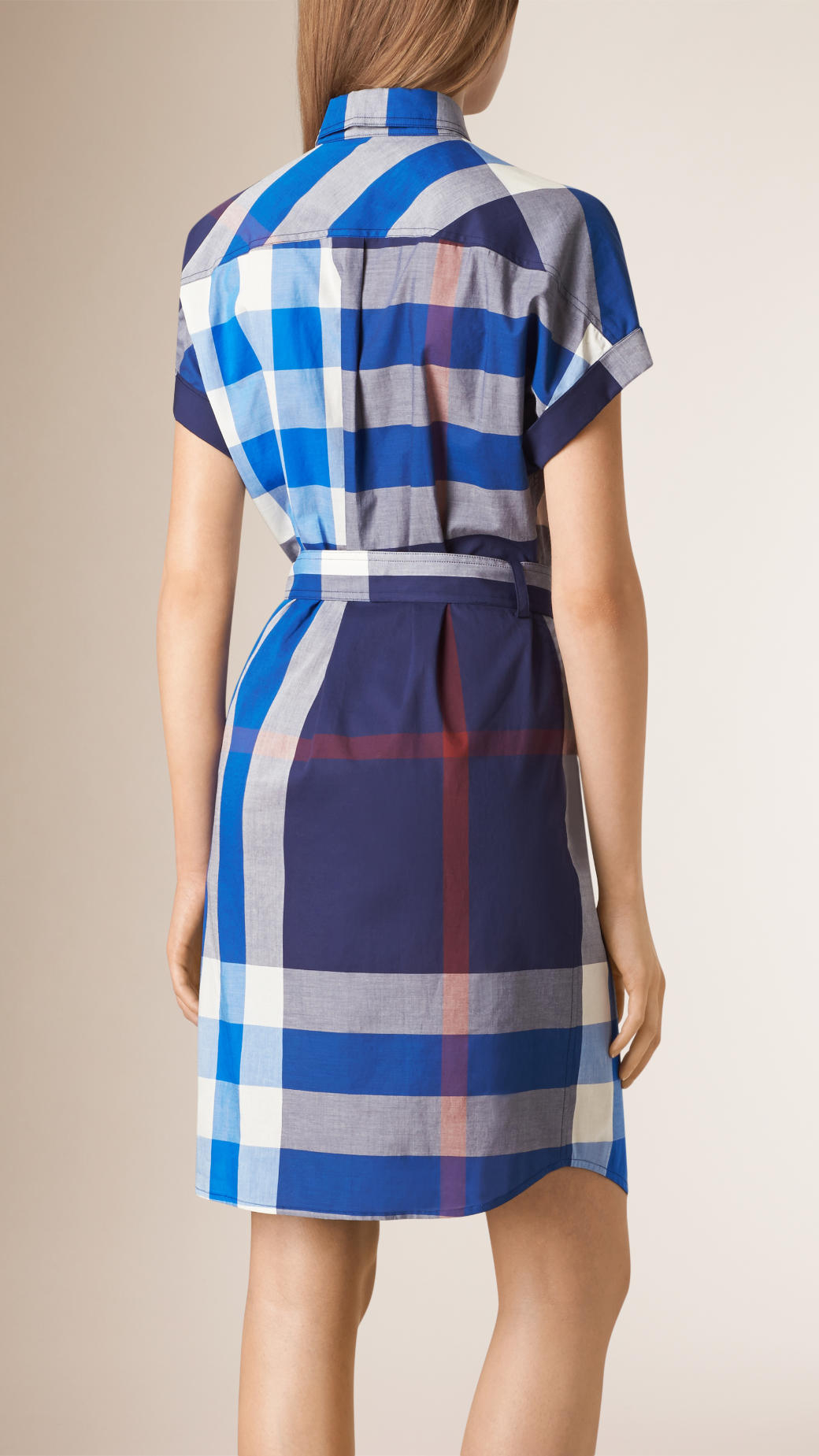 Burberry check cotton shirt dress in blue lyst for Blue check dress shirt