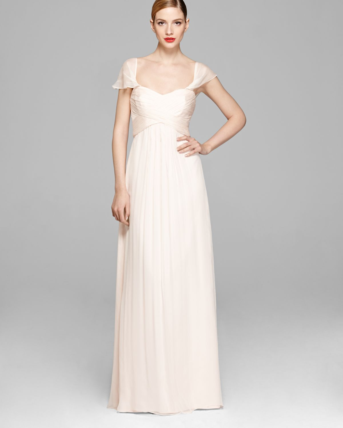 Lyst - Amsale Gown Off The Shoulder Sweetheart Neckline Chiffon in ...