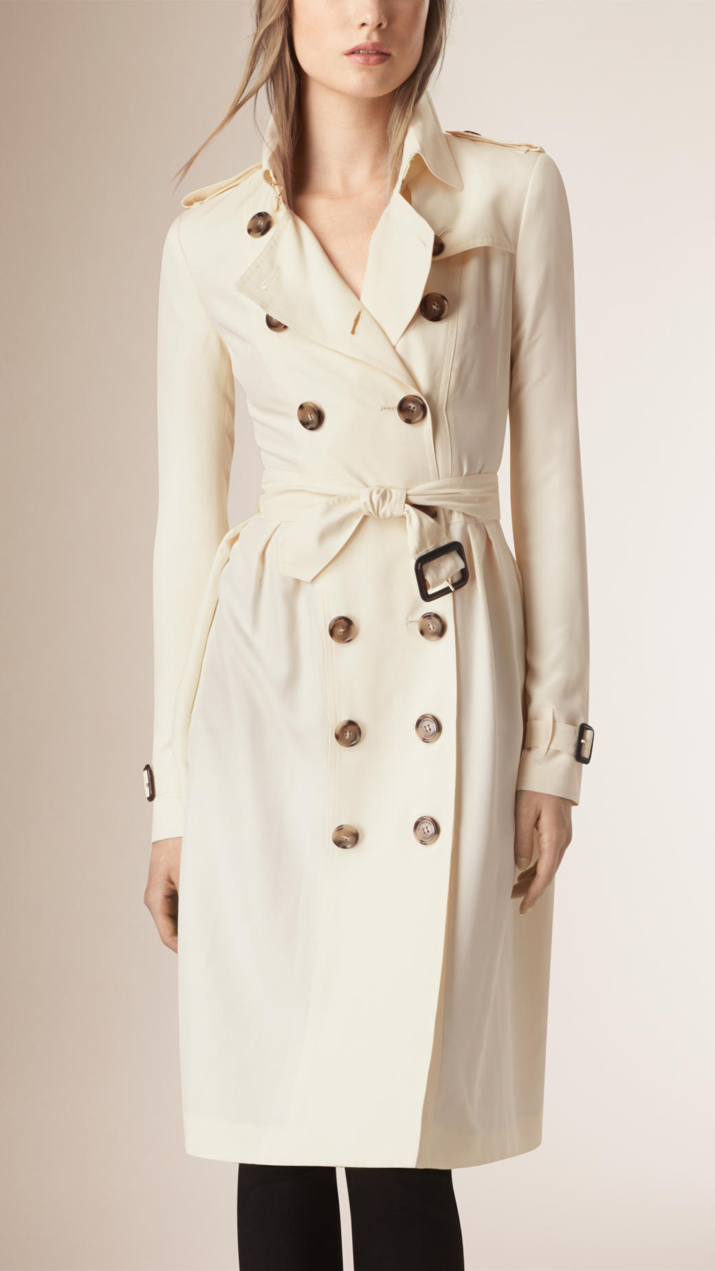 lyst burberry skirted silk trench coat in natural. Black Bedroom Furniture Sets. Home Design Ideas