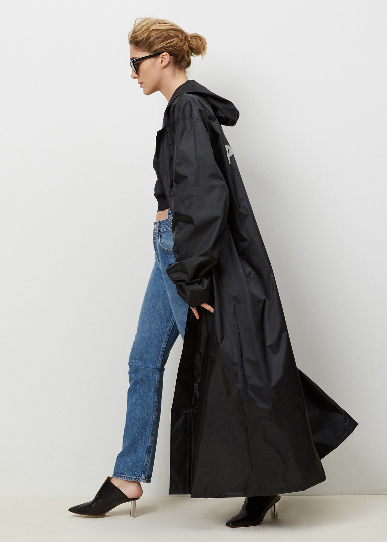 Vetements Black Long Hooded Raincoat in Black | Lyst