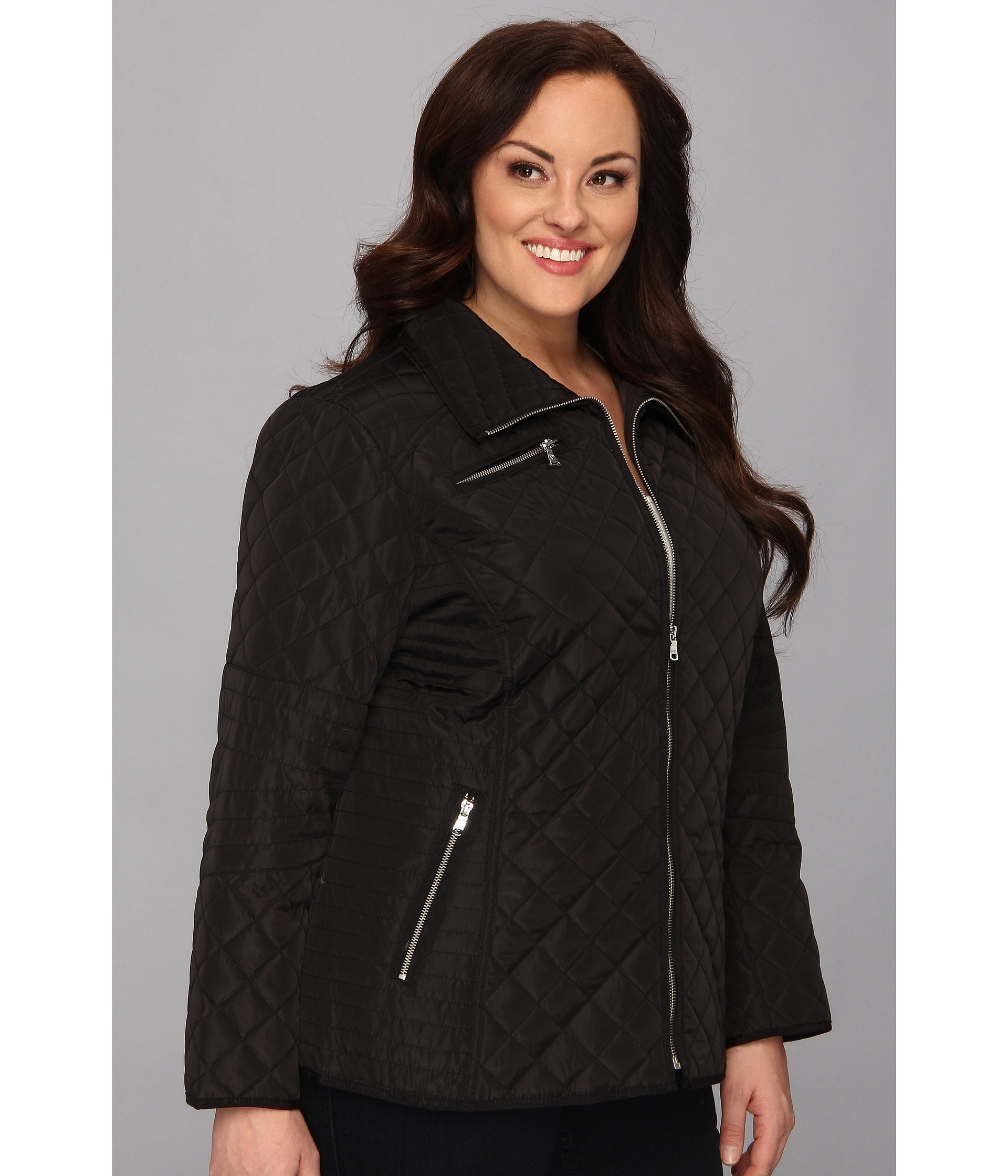 Plus Size Quilted Jacket W Floral Lining
