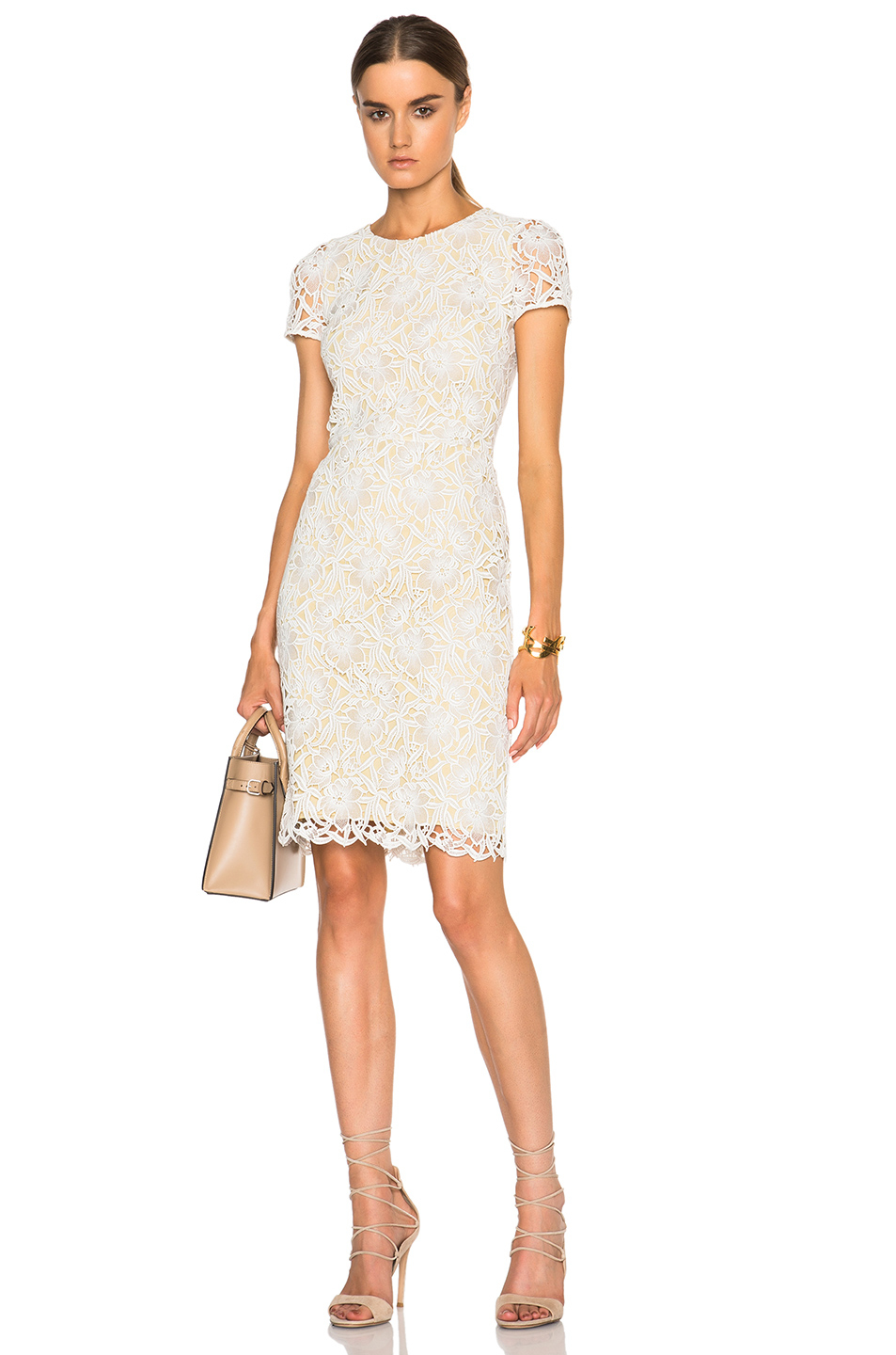 Lyst Burberry Prorsum Short Sleeve Lace Dress In White