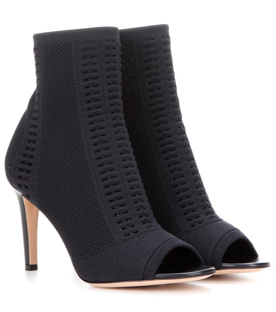 gianvito knitted stretch peeptoe ankle boots in
