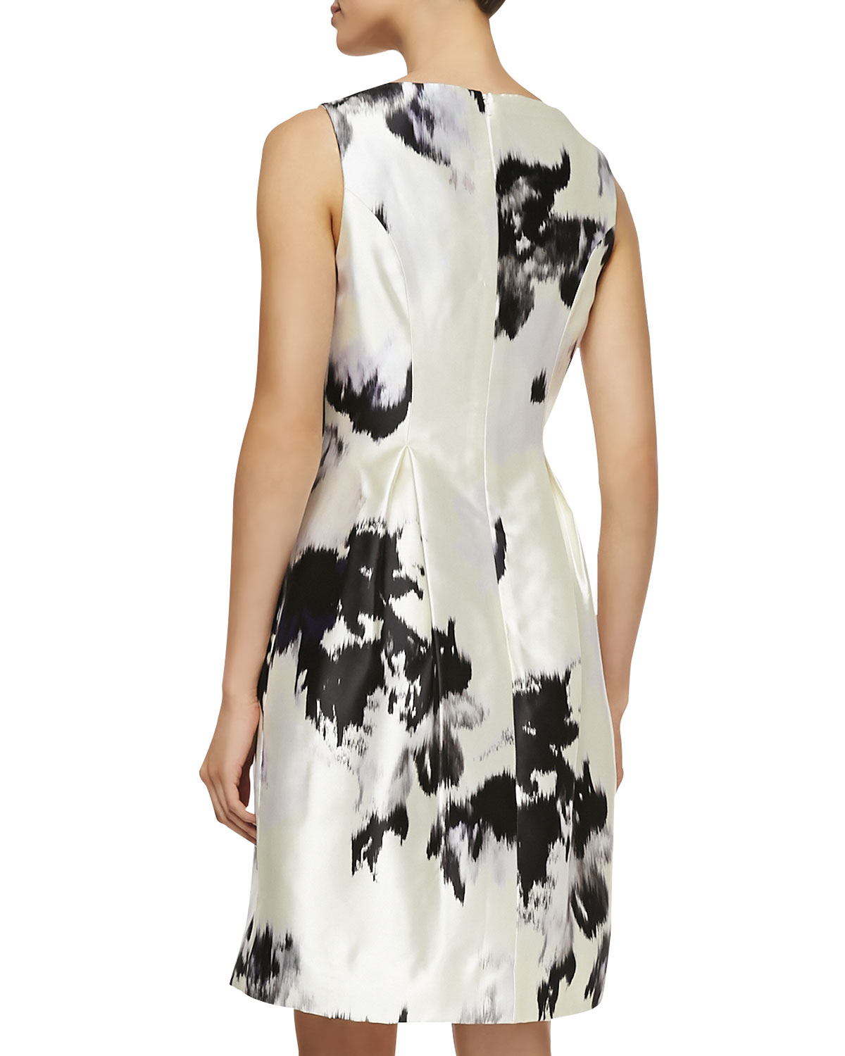 Lyst Lela Rose Watercolor Silk Sheath Dress In Black