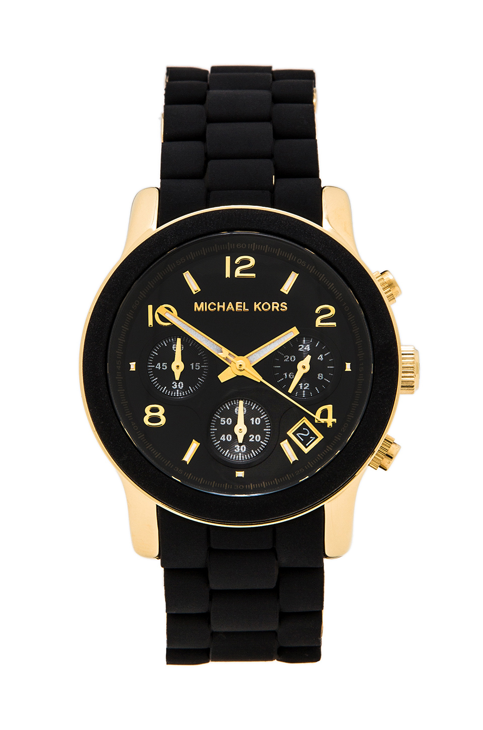 Michael kors runway watch in black lyst for Watches michael kors