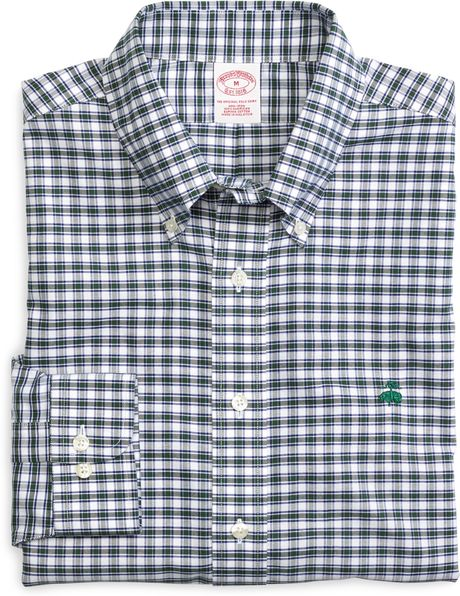 Brooks brothers non iron slim fit check sport shirt in Brooks brothers shirt size guide