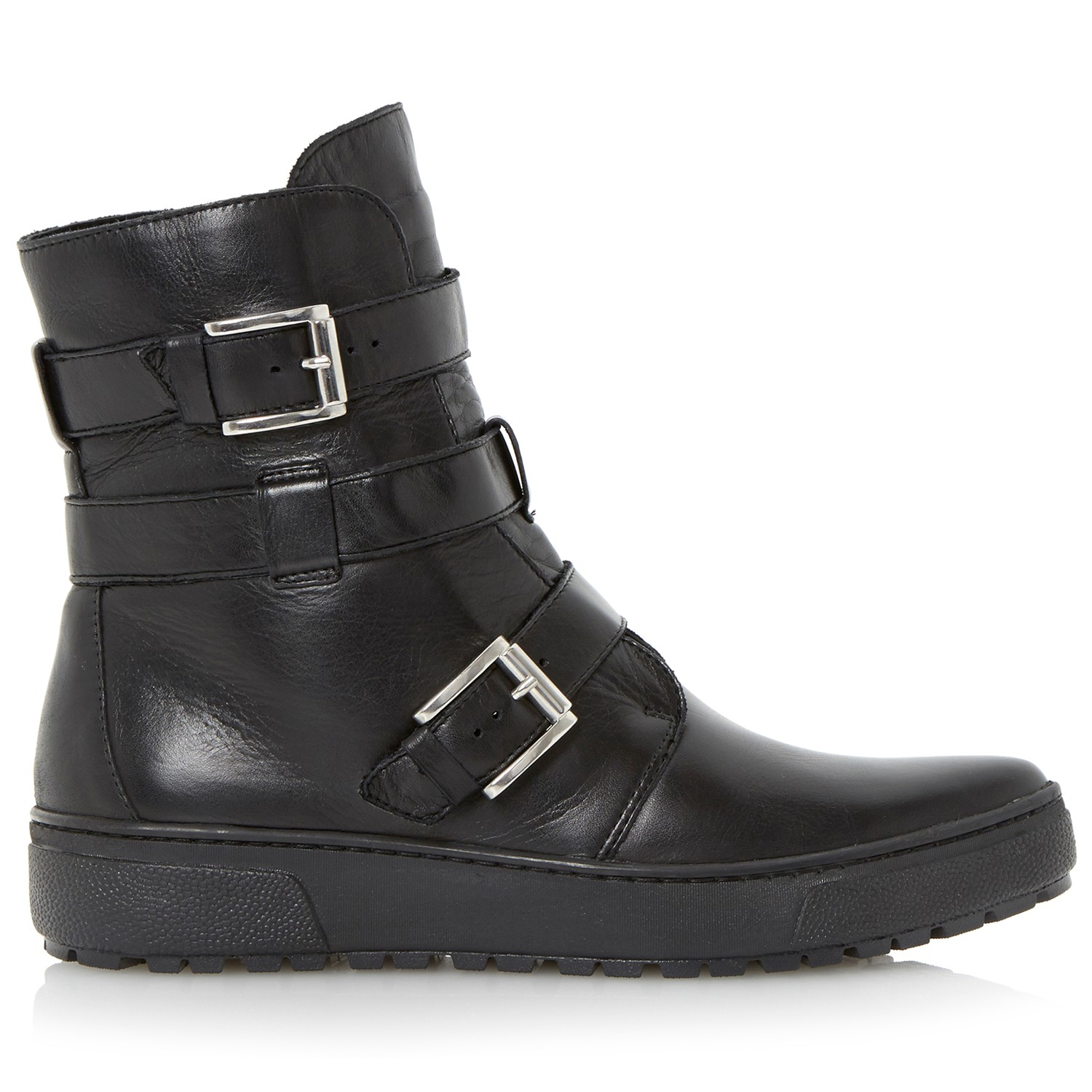 dune black peeta leather ankle boots in black for lyst