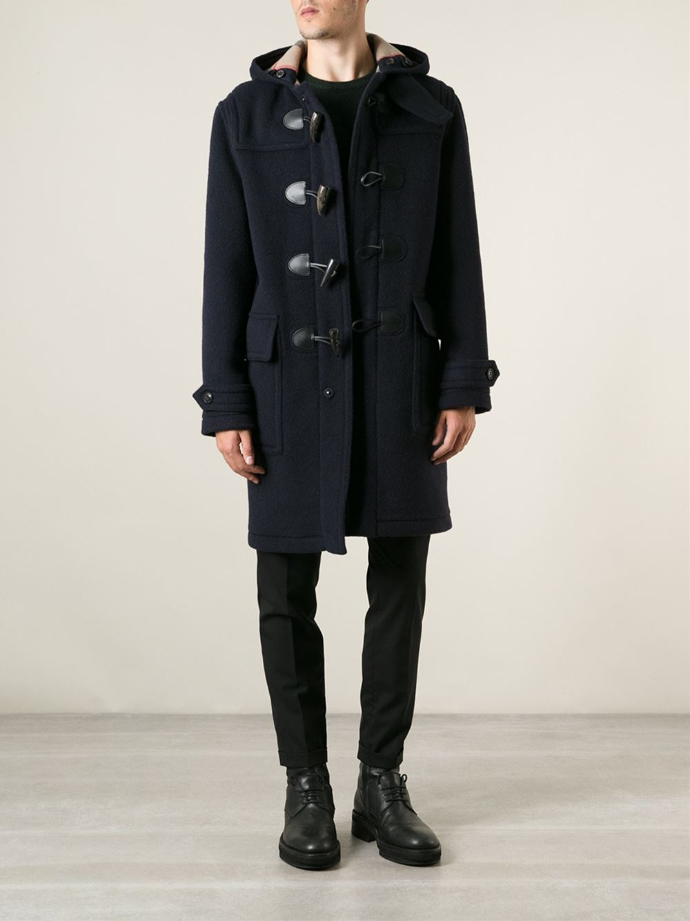 Burberry brit Oversize Duffle Coat in Blue for Men | Lyst
