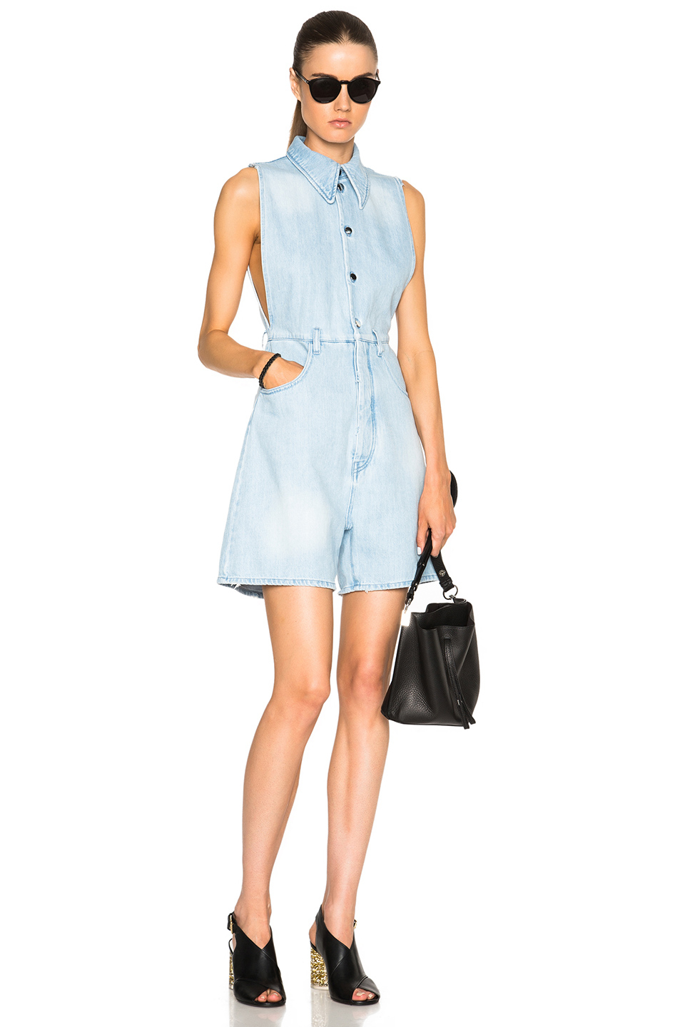 Stone Washed Romper in Blue Maison Martin Margiela Inexpensive Cheap Online Free Shipping Good Selling SYAHdXL