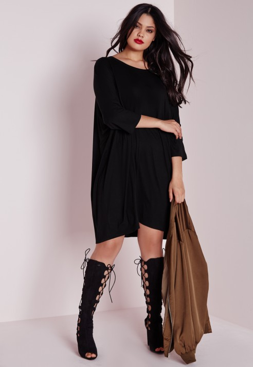 Lyst - Missguided Plus Size Oversized T-shirt Dress Black in Black