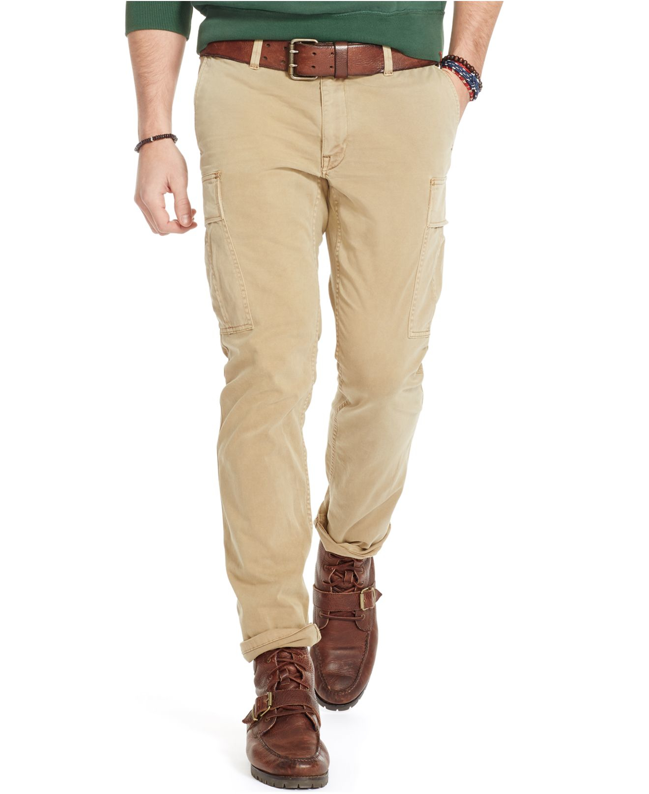 polo ralph lauren slim fit stretch cargo pants in brown for men lyst. Black Bedroom Furniture Sets. Home Design Ideas