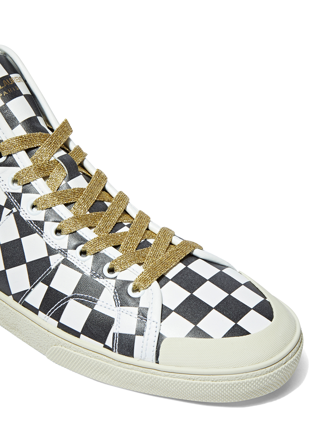 saint laurent men 39 s checked high top sneakers in black and white in black for men lyst. Black Bedroom Furniture Sets. Home Design Ideas
