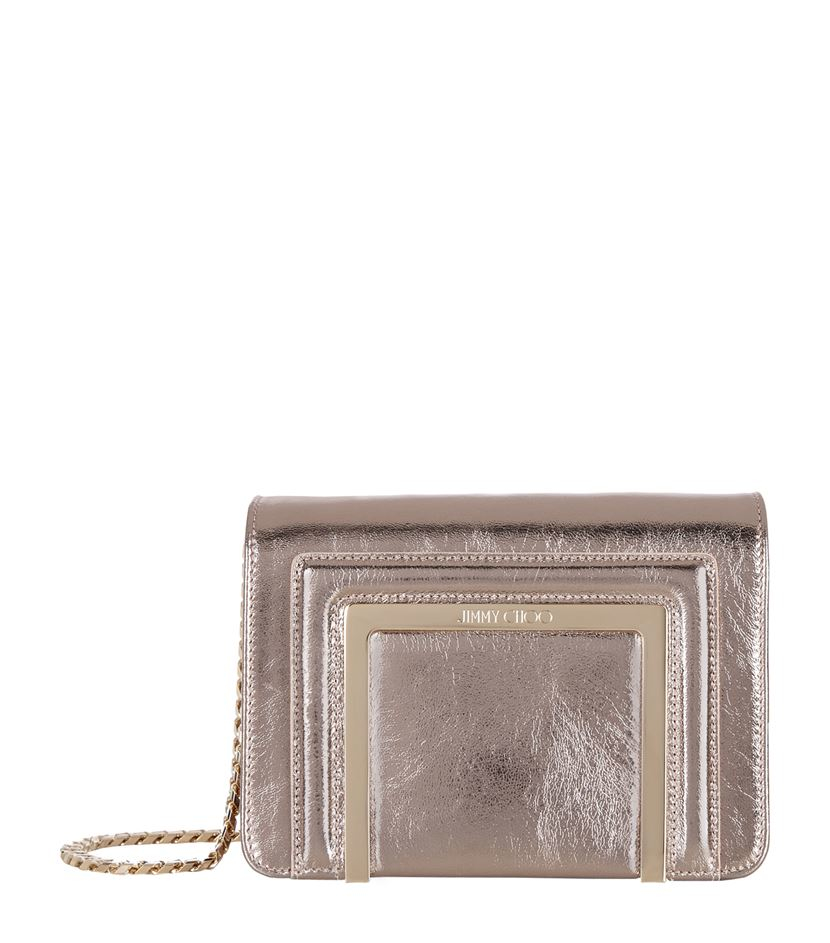 Jimmy Choo Ava Mini Crinkle Crossbody Bag in Grey