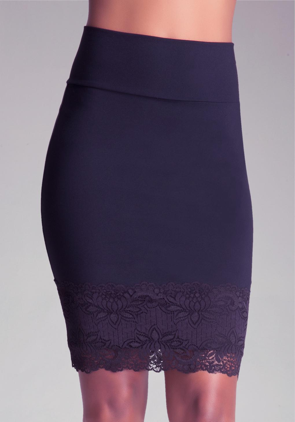 bebe lace trim pencil skirt in black lyst
