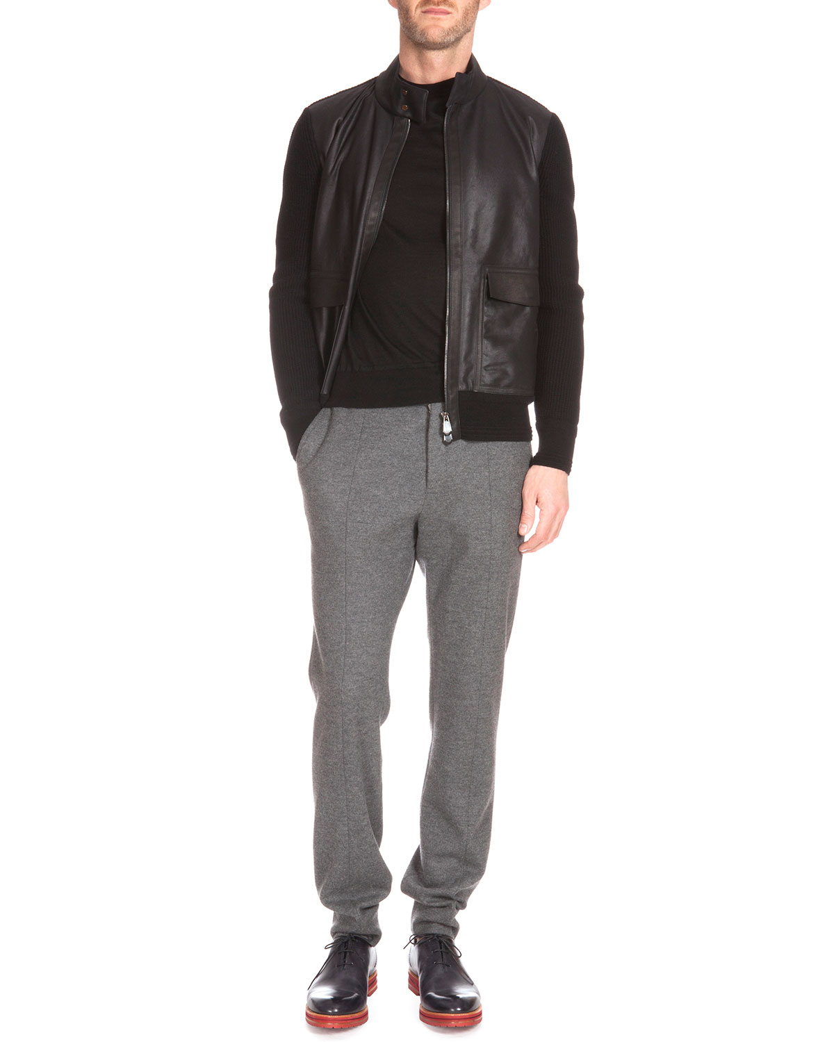 Berluti Leather Front Sweater Jacket In Black For Men Lyst