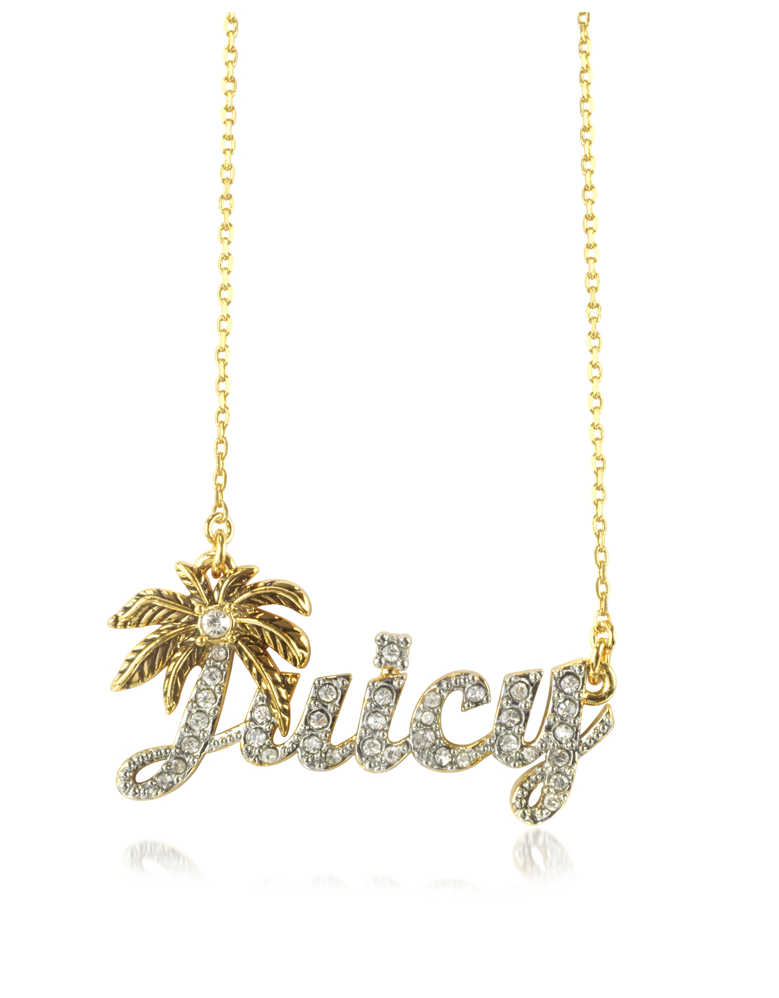 Lyst juicy couture juicy palm signature necklace in metallic for Juicy couture jewelry necklace