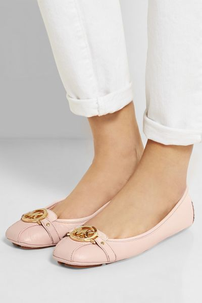 michael michael kors fulton textured leather ballet flats in pink lyst. Black Bedroom Furniture Sets. Home Design Ideas
